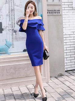 Pure Color Slash Neck Falbala Bodycon Dress