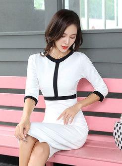 Stylish Color-blocked High Waist Three Quarters Sleeve Sheath Dress