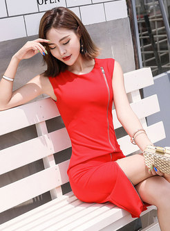 Chic Red Sleeveless Zipper O-neck Sheath Dress