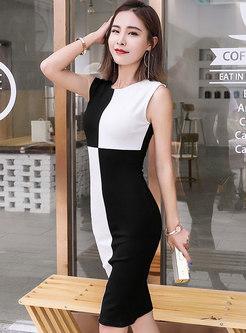 Brief Color-blocked O-neck Sleeveless Sheath Dress