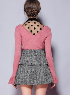 Autumn Sweet Pink V-neck Dots Slim Knitted Sweater