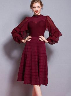 Fashion Lantern Sleeve Plaid Beaded Perspective Knitting Dress