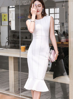 Elegant White Splicing Sleeveless Slim Mermaid Dress