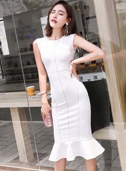 Elegant White Splicing Sleeveless Slim Mermaid Dress