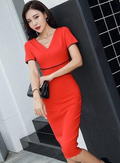 Color-blocked Gathered Waist Zipper Slim Bodycon Dress