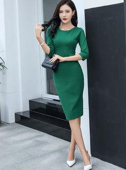 OL Pure Color Three Quarters Sleeve Bodycon Dress
