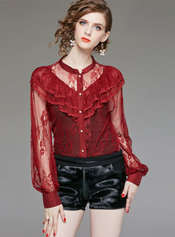 Sexy Single-breasted Lace Perspective Blouse