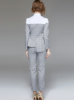Standing Collar Splicing Plaid Two Piece Outfits