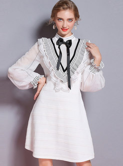 Brief White Lantern Sleeve Striped Knitting Midi Dress