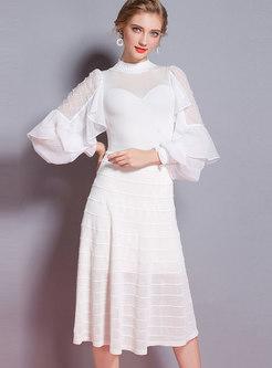 White Lantern Sleeve Plaid Beaded Perspective Knitting Dress