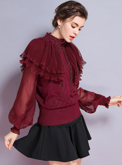 Trendy Wine Red Lantern Sleeve Beaded Mesh Cloak Sweater