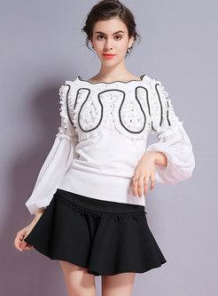 Trendy Slash Neck Slim Sequin Knitted Sweater