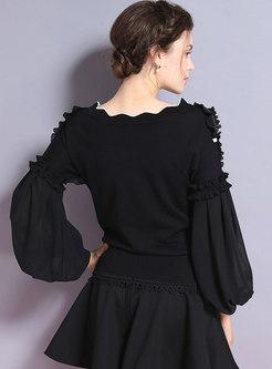 Trendy Black Slash Neck Slim Sequins Pullover Sweater