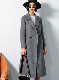 Chic Grid Turn Down Collar Slim Long Coat