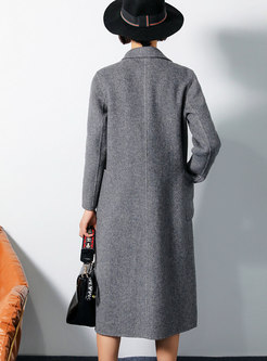 PLiad Turn Down Collar Slim Long Coat