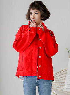 Casual Red Rivet Holes Single-breasted Jacket