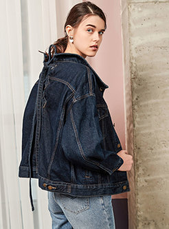 Chic Pure Color Tied Single-breasted Slim Denim Coat