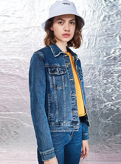 Blue Denim Lapel Single-breasted Short Jacket