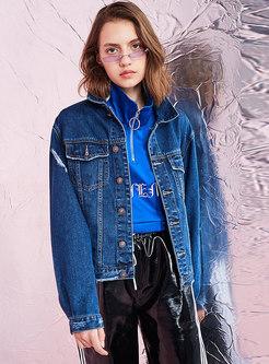 Solid Color Denim Lapel Frayed Short Coat