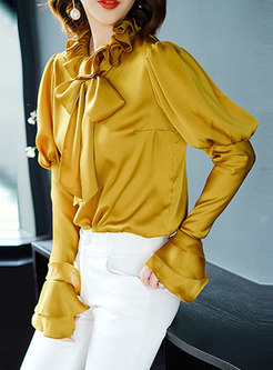 Brief Yellow Court Flare Sleeve Pullover Blouse