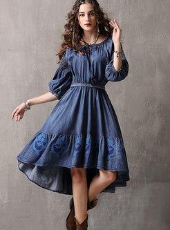 Vintage Slash Neck Embroidered High-low Denim Dress