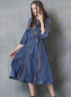 Denim Three Quarters Sleeve Embroidered Dress With Drawstring