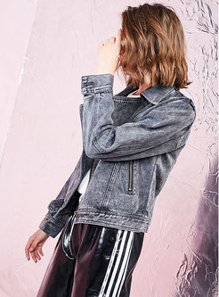 Denim Pure Color Bat Sleeve Zipper Short Coat