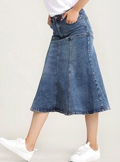 Denim High Waist Slim Mermaid Skirt