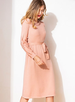 Elegant Crew-neck Elastic Waist Knitted Dress With Belt