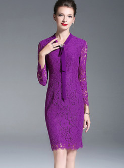 V-neck Long Sleeve Tied Slim Bodycon Lace Dress