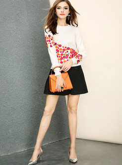 Chic O-neck Long Sleeve Three-dimensional Floral Sweater
