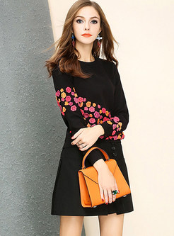 Multicolor Floral Patchwork Black Slim Sweater