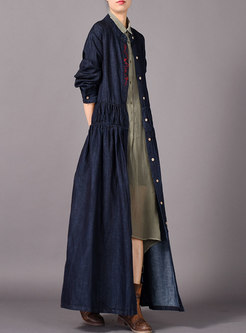 Denim Plus Size Embroidered Single-breasted Elegant Coat