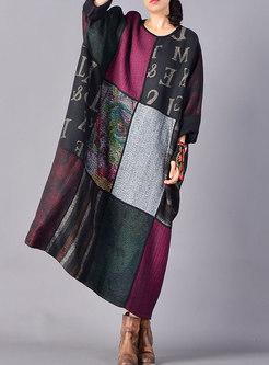 Stylish Stitching Hairy Elastic Waist Asymmetric Dress
