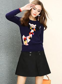 Cute Cartoon Print Tassel Pullover Sweater