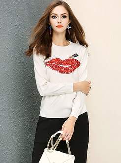 Beaded Mouth Print Pullover Sweater
