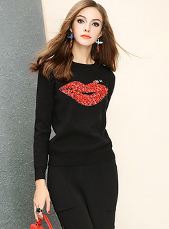 Casual O-neck Slim Beaded Mouth Pattern Sweater