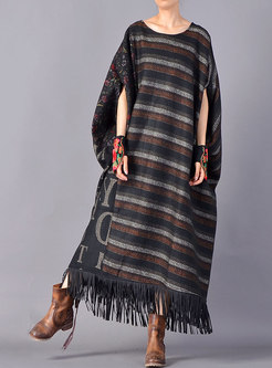 Winter Plus Size Bat Sleeve Print Stitching Fringed Dress
