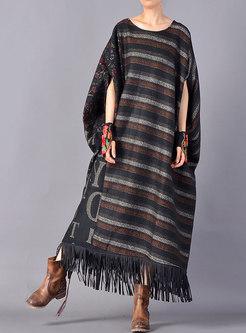 Winter Plus Size Bat Sleeve Print Stitching Fringed Dress