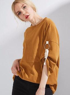 Fashion Camel Crew-neck Lantern Sleeve Cotton T-Shirt