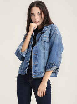 Blue Denim Frayed Lapel Single-breasted Short Jacket