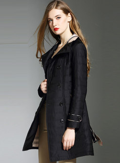 Black Stand Collar Double-breasted Belted Slim Thick Coat