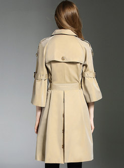 Pure Color Flare Sleeve Belted Double-breasted Trench Coat