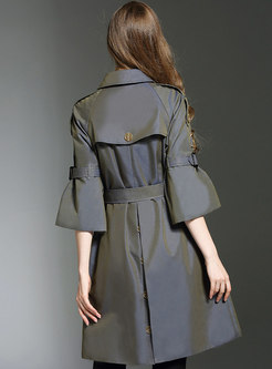 Trendy Flare Sleeve Belted Double-breasted A Line Trench Coat