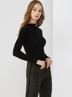 Brief Striped Half High Neck Knitted Sweater