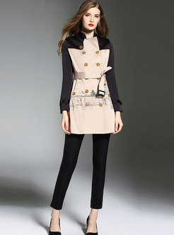 Color-blocked Print Belted Double-breasted Trench Coat