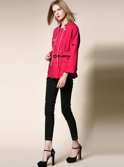 Pure Color Stand Collar Belted Slim Short Trench Coat