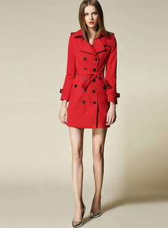 Pure Color Turn Down Collar Belted Slim Trench Coat