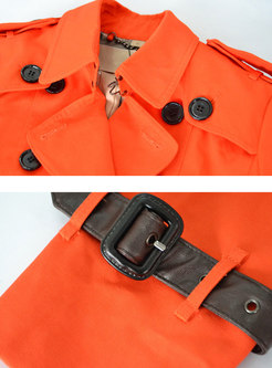 Chic Solid Color Double-breasted Belted Falbala Short Trench Coat