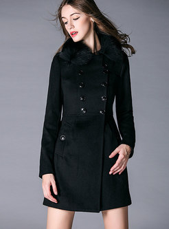 Solid Color Fur Collar Double-breasted Slim Coat